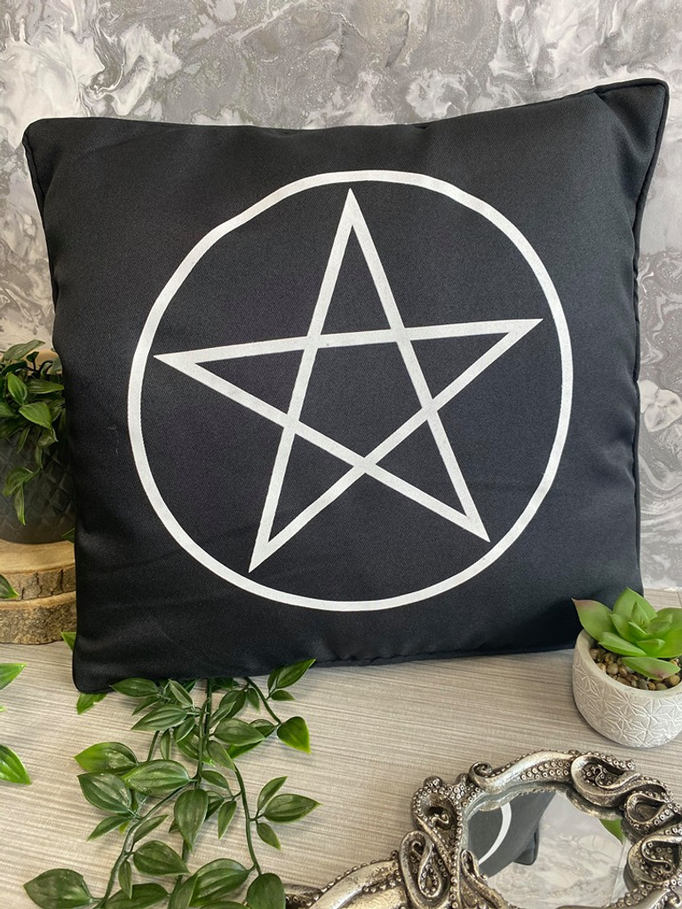Black and White Pentagram Cushion