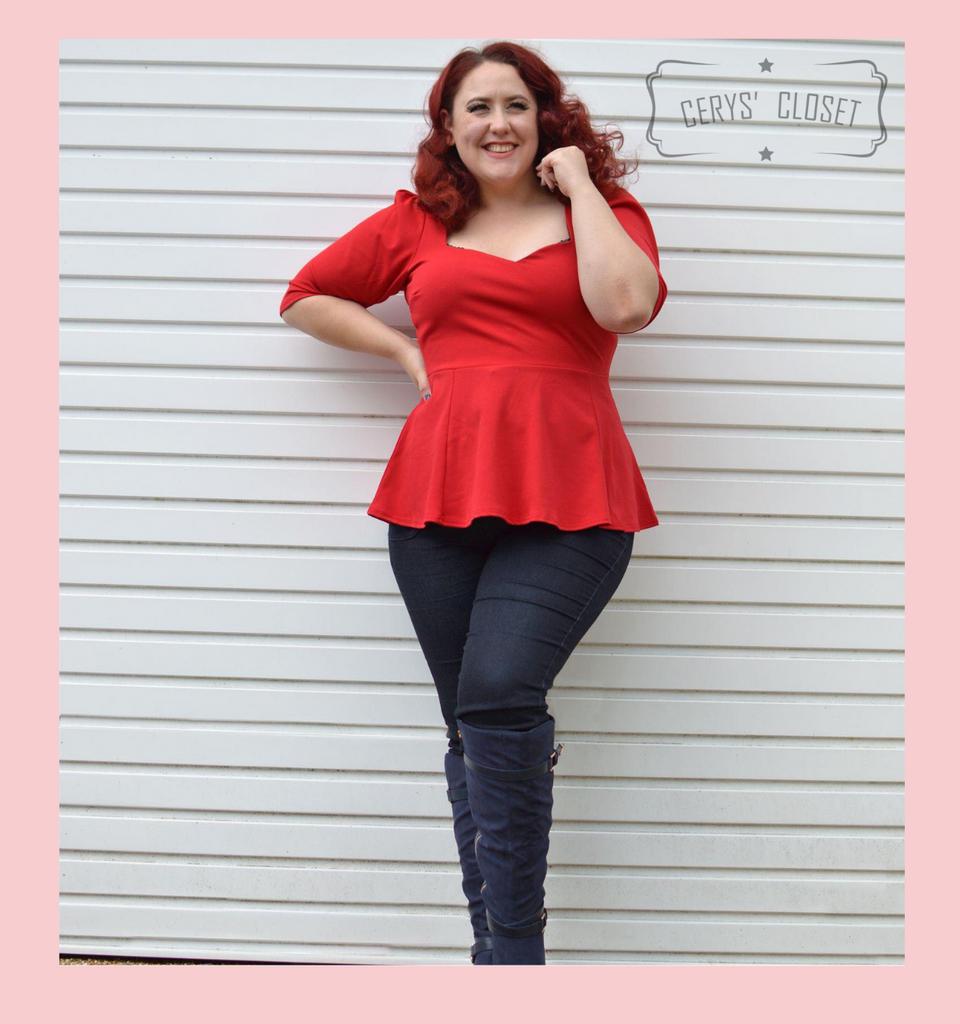 The Betty Peplum Sweetheart Neckline peplum top with 3/4 sleeves by Cerys' Closet - Lipstick Red