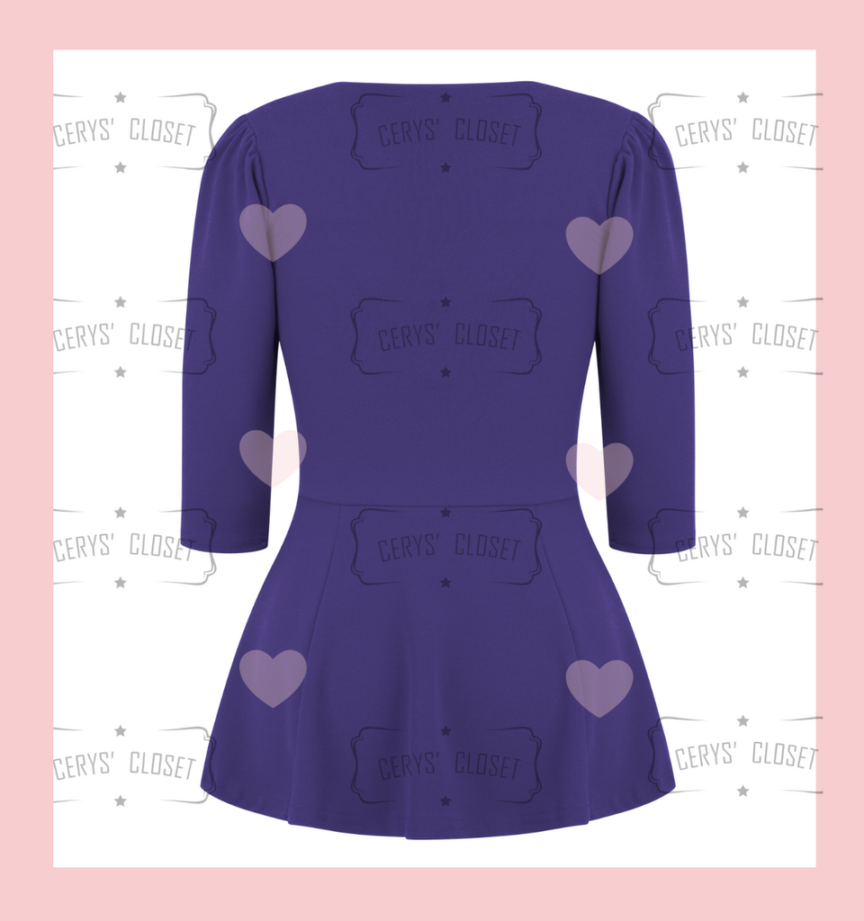 The Betty Peplum Sweetheart Neckline peplum top with 3/4 sleeves by Cerys' Closet - Purple