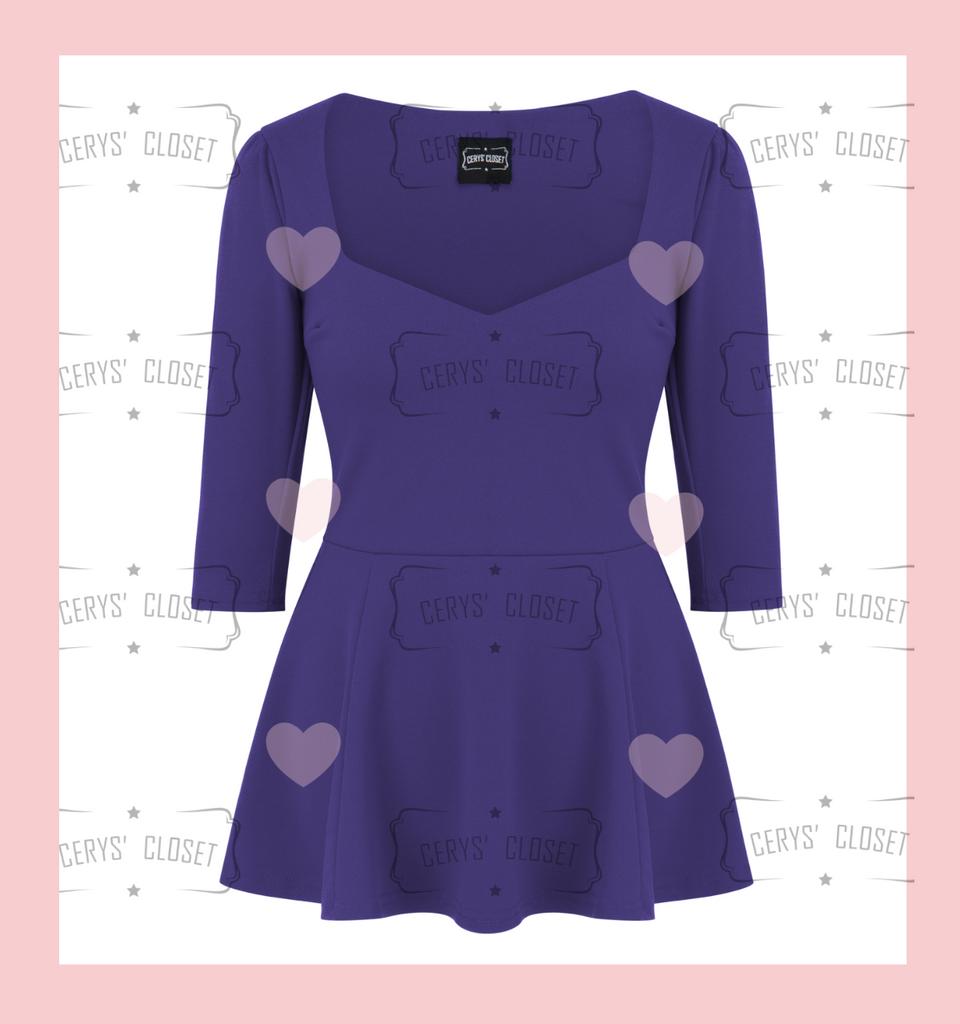The Betty Peplum Top by Cerys' Closet. Purple sweetheart neckline peplum top with 3/4 sleeves.