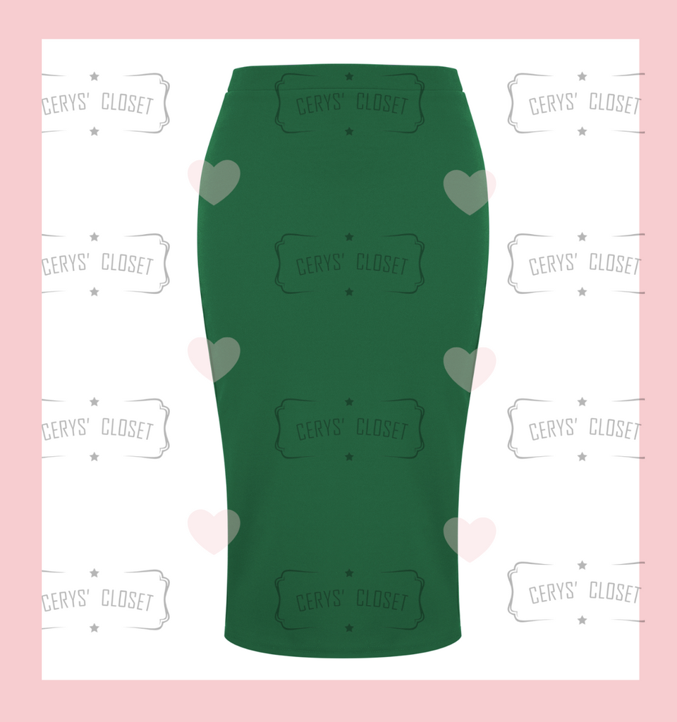 The Bang Bang Vintage Style Pencil Skirt by Cerys' Closet in Emerald Green. Fitted pencil skirt, body con skirt with lots of stretch.