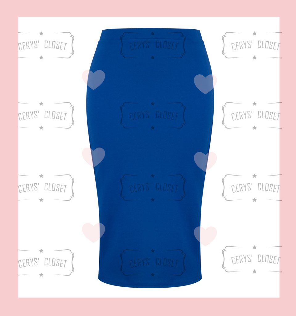 The Bang Bang Vintage Style Pencil Skirt by Cerys' Closet in Royal Blue. Fitted pencil skirt, body con skirt with lots of stretch.