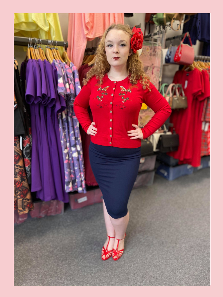 The Bang Bang Vintage Style Pencil Skirt by Cerys' Closet in Navy. Fitted pencil skirt, body con skirt with lots of stretch.