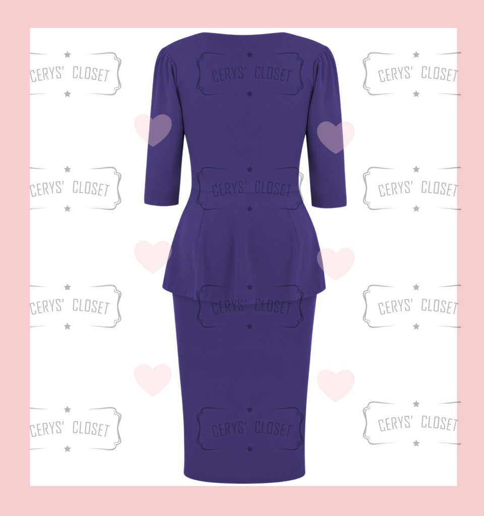 Purple Betty Bang Bang Peplum top and Pencil Skirt Combo by Cerys' Closet Peplum Top Plus Size fashion Pencil Skirt Separates but when worn together they make an amazing dress, 3 looks in 1