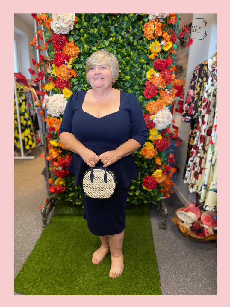 Navy Betty Bang Bang Peplum top and Pencil Skirt Combo by Cerys' Closet  Peplum Top Plus Size fashion Pencil Skirt Separates but when worn together they make an amazing dress, 3 looks in 1