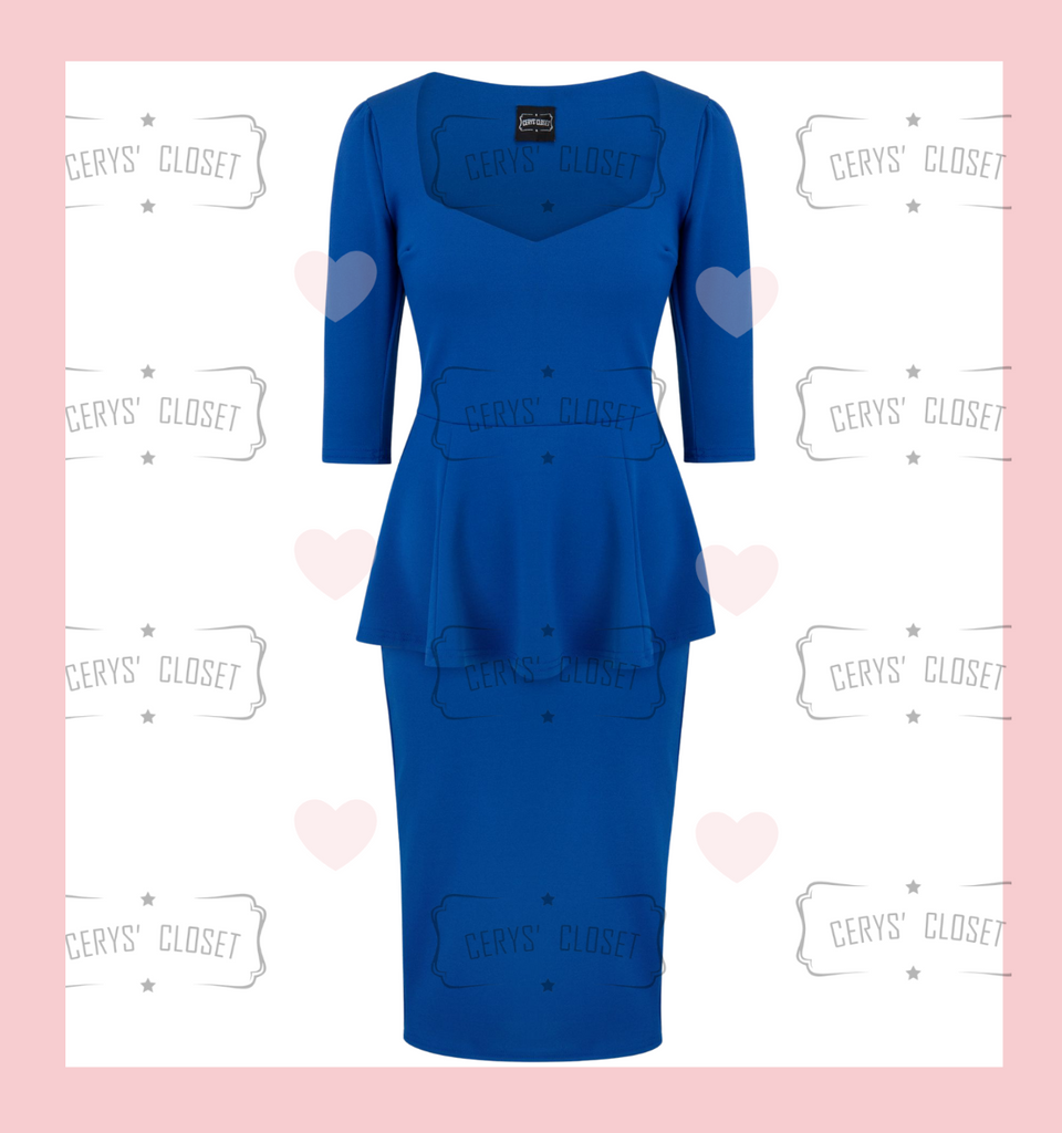 Royal Blue Betty Bang Bang Peplum top and Pencil Skirt Combo by Cerys' Closet  Peplum Top Plus Size fashion Pencil Skirt Separates but when worn together they make an amazing dress, 3 looks in 1