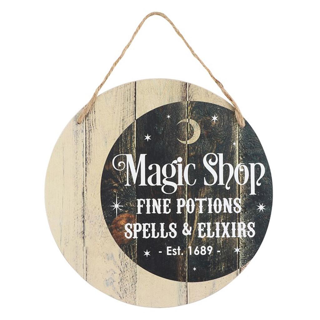 Round Crescent moon Magic Shop Hanging Sign