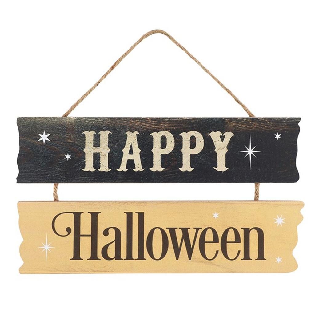 Black and Orange Happy Halloween 2 tiered MDF Hanging sign