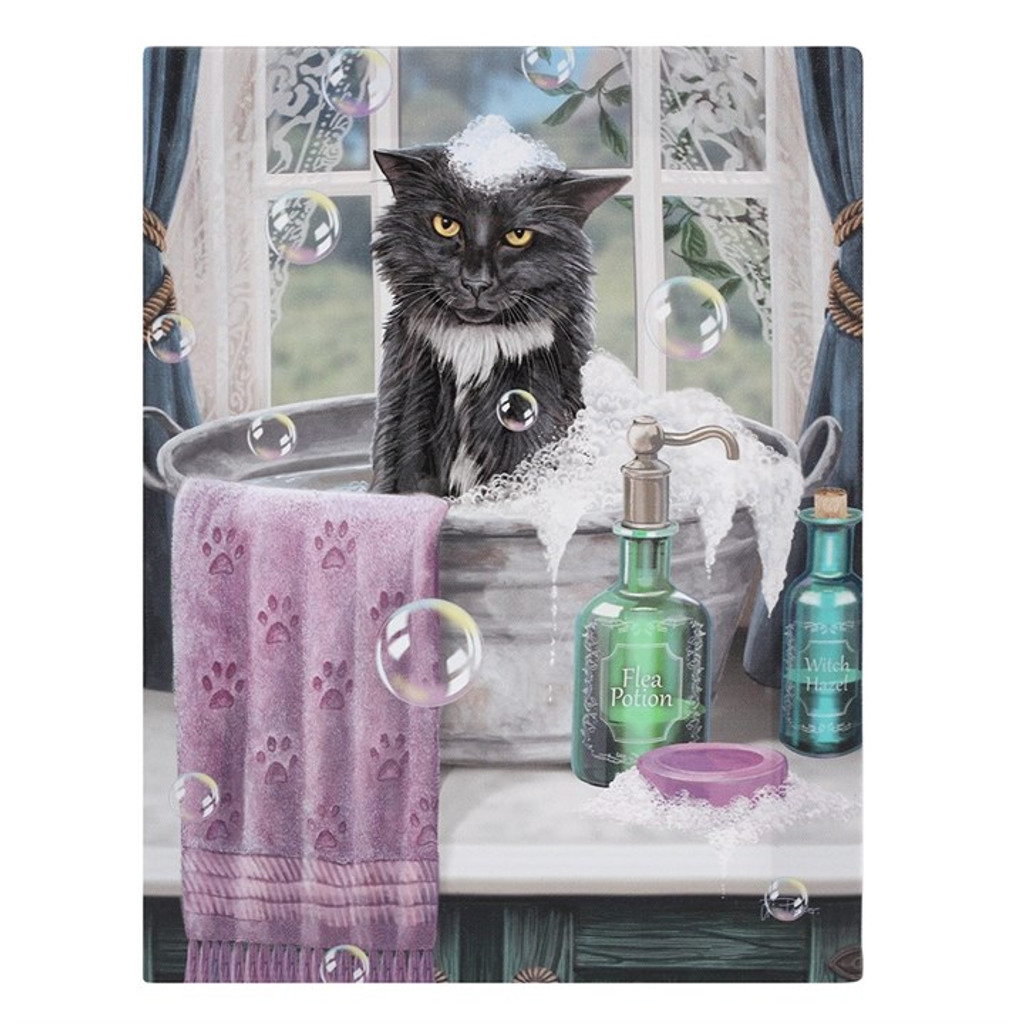 """Bath Time"" Cat in a Bathtub Canvas By Lisa Parker 19 x 25CM"