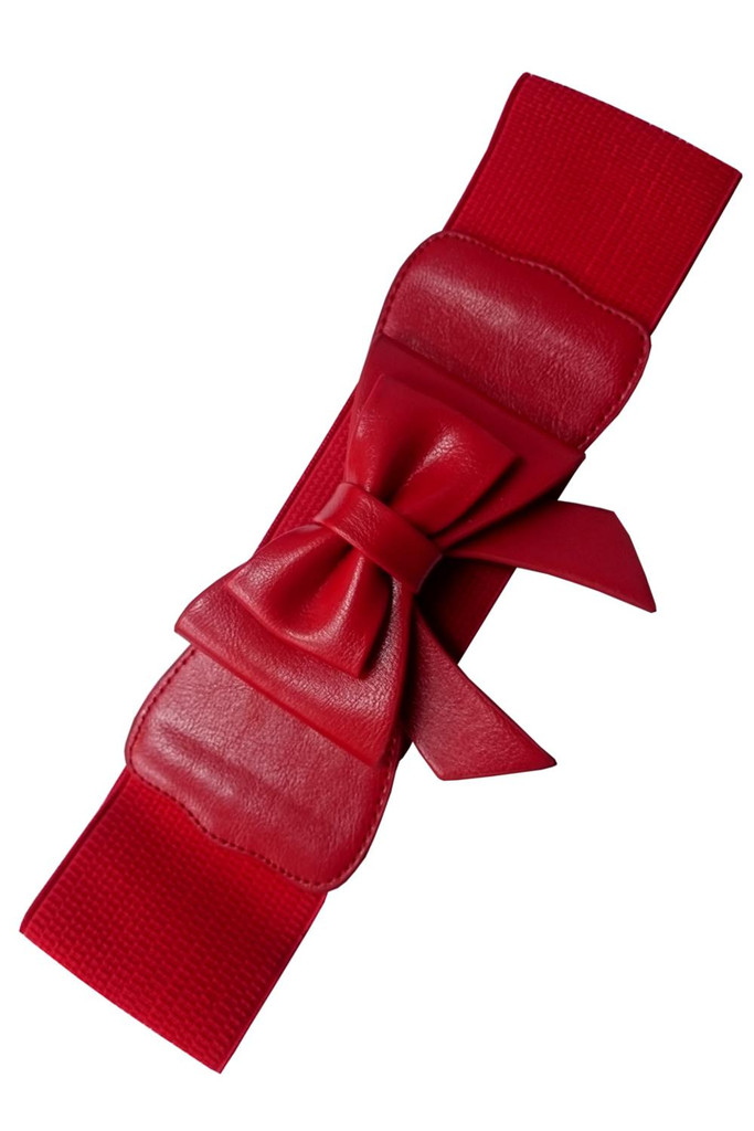 50s Vintage Inspired Faux Leather Elasticated Waspie Bow Belt - Red