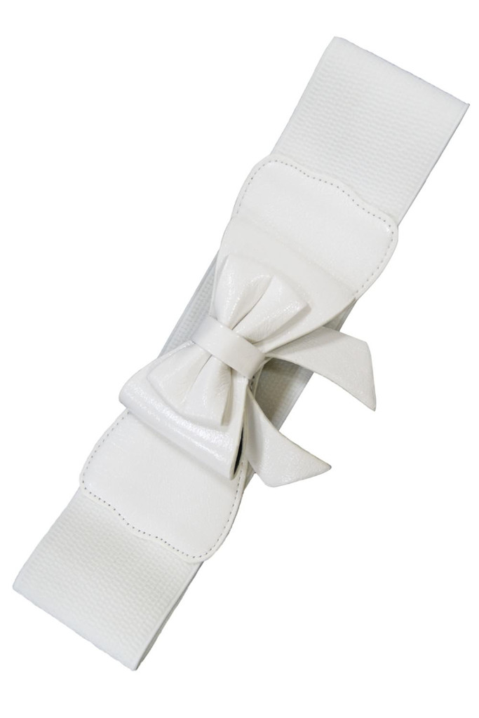 50s Vintage Inspired Faux Leather Elasticated Waspie Bow Belt - White