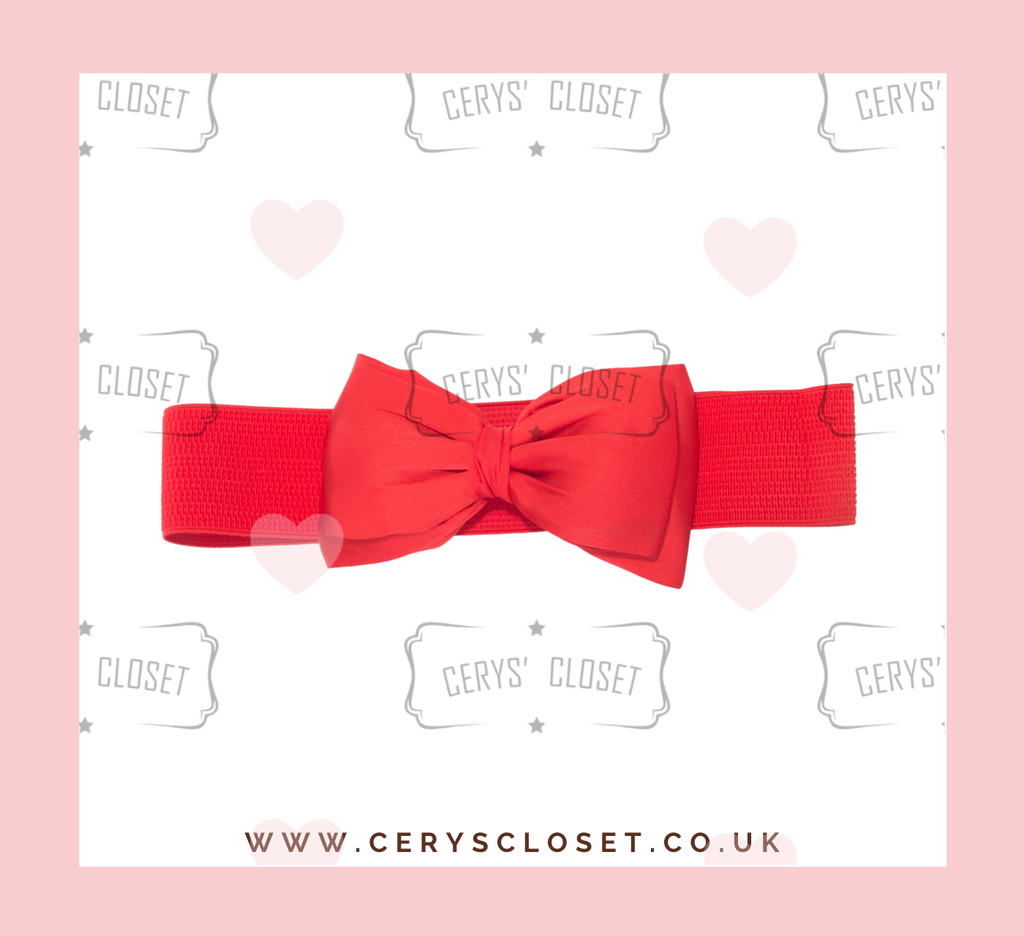 Red 50s Vintage Inspired Elasticated Waspie Satin Bow Belt Banned apparel at Cerys' Closet