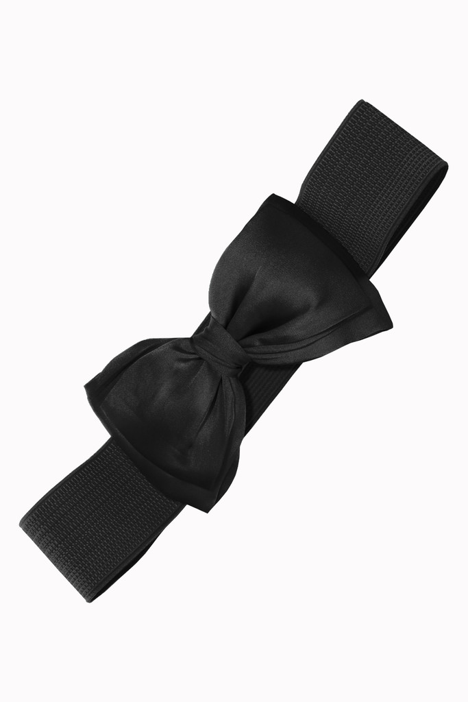 50s Vintage Inspired Elasticated Waspie Satin Bow Belt - Black