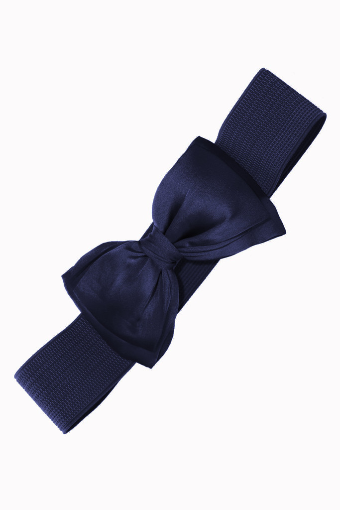 50s Vintage Inspired Elasticated Waspie Satin Bow Belt - Navy Blue