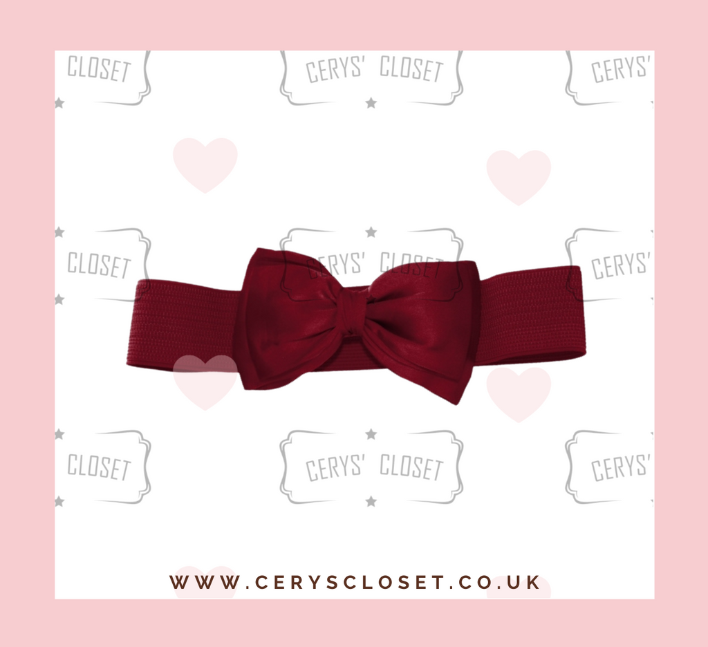Burgundy 50s Vintage Inspired Elasticated Waspie Satin Bow Belt Banned Apparel at Cerys' Closet