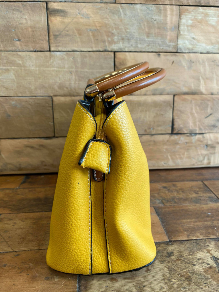 Cute Double Handled Button Tote Bag with Detachable Shoulder Strap - Mustard