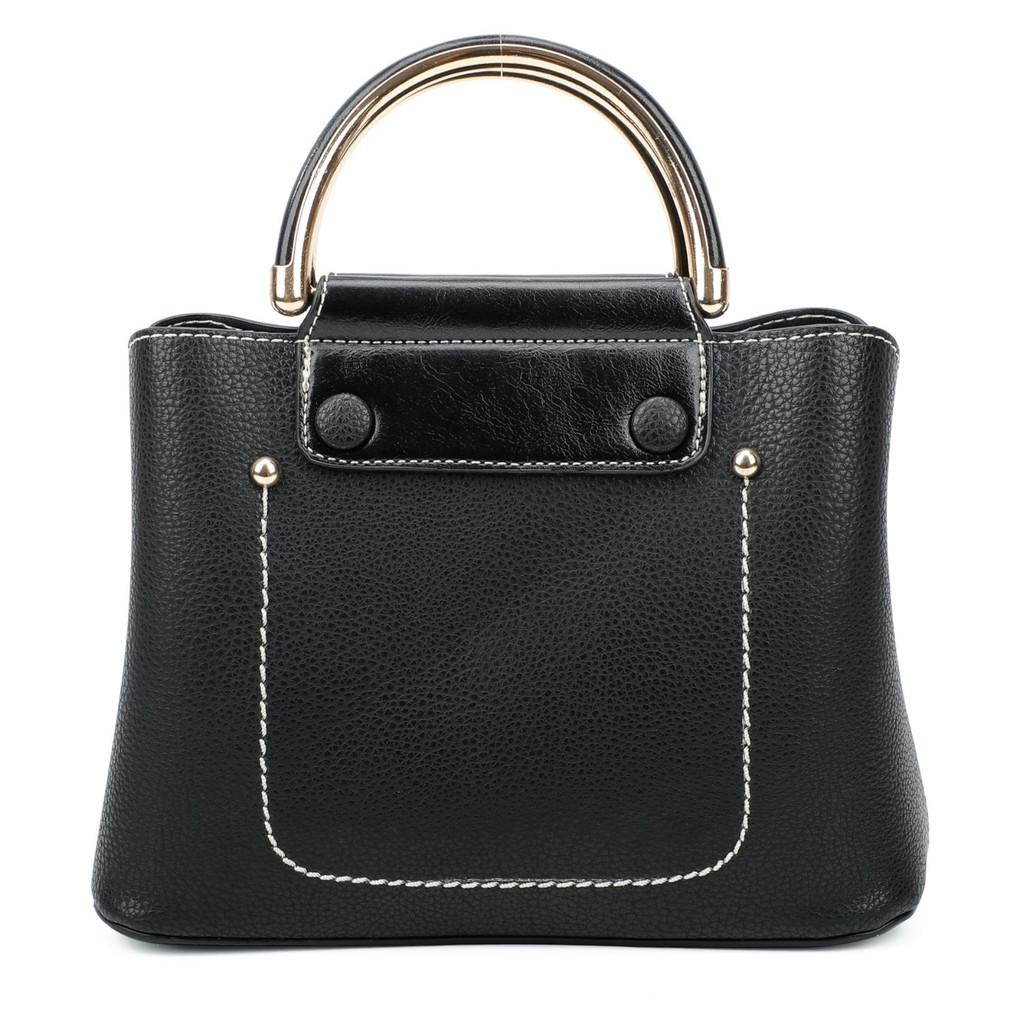 Cute Double Handled Button Tote Bag with Detachable Shoulder Strap - Black