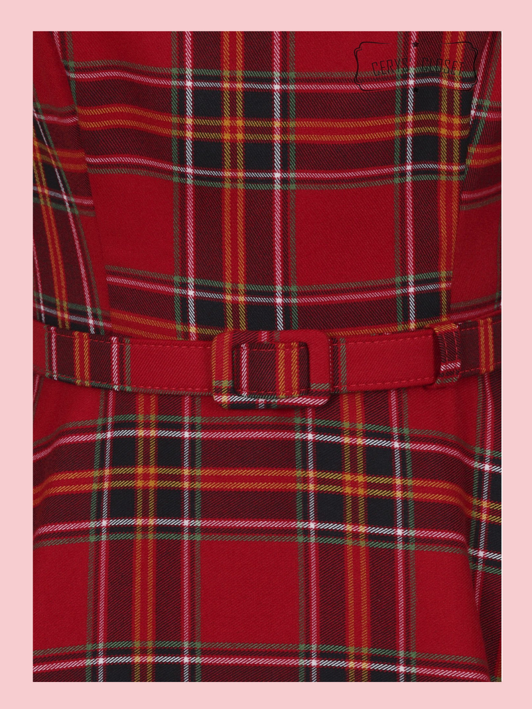 Collectif Suzanne Red Tartan Check 3/4 Sleeve Vintage 50s Inspired Swing Dress
