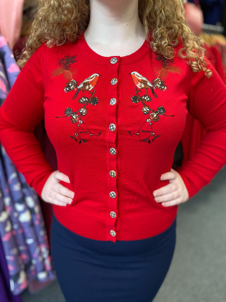 Rockin Robbin Red Christmas Winter Cardigan