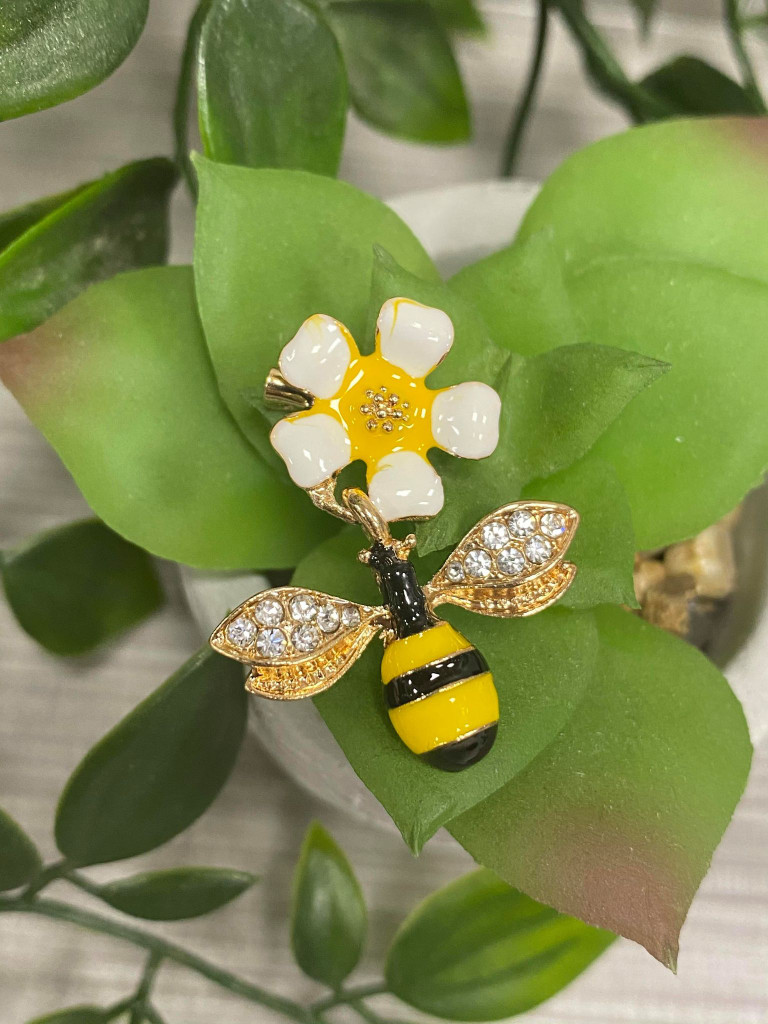 GOLD PLATED ENAMEL Bee and Flower Brooch with Genuine Crystals