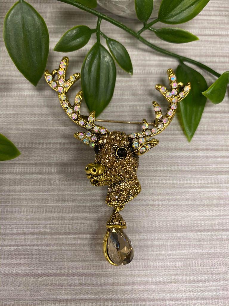 Gold Plated Crystal Encrusted Christmas Deer Brooch