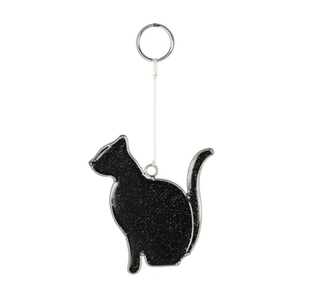 Black Cat Mini Suncatcher with Glitter Flecks
