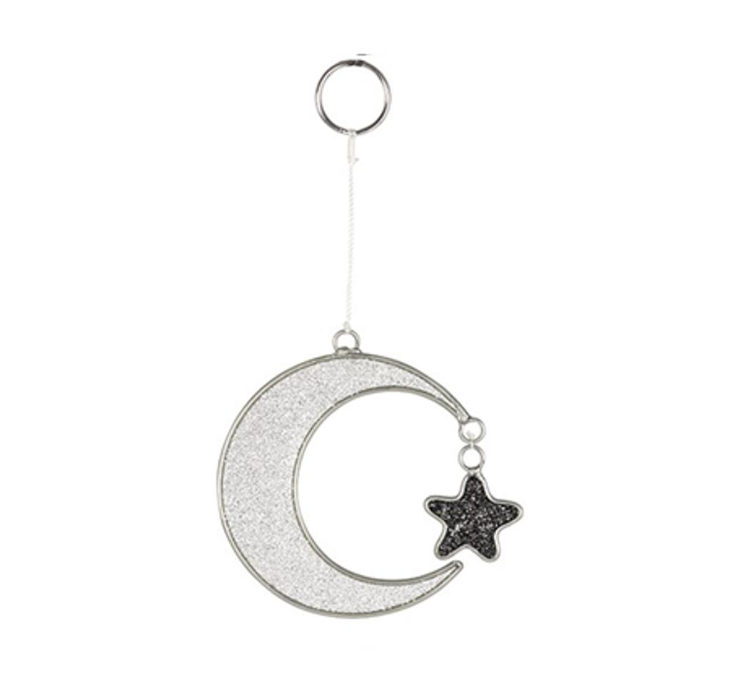 Crescent Moon and Hanging Star Mini Suncatcher with Glitter Flecks