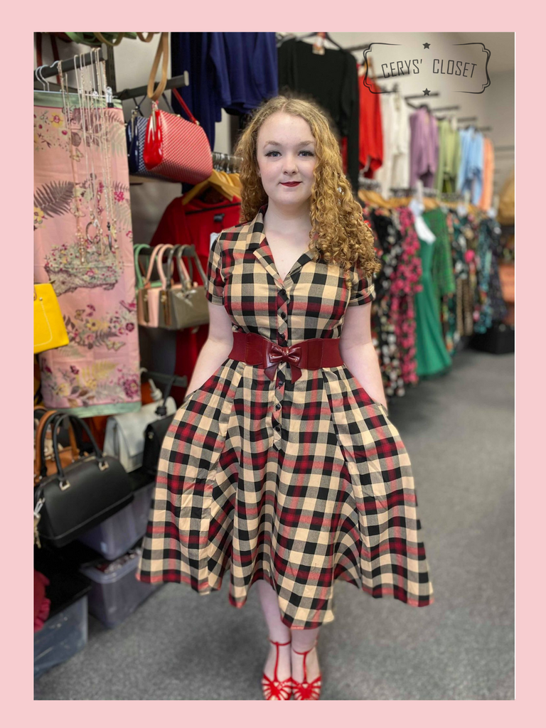 Collectif Caterina Mckenzie 50s Vintage Inspired Shirt Swing Dress, Black, Red and Cream Check at Cerys' Closet