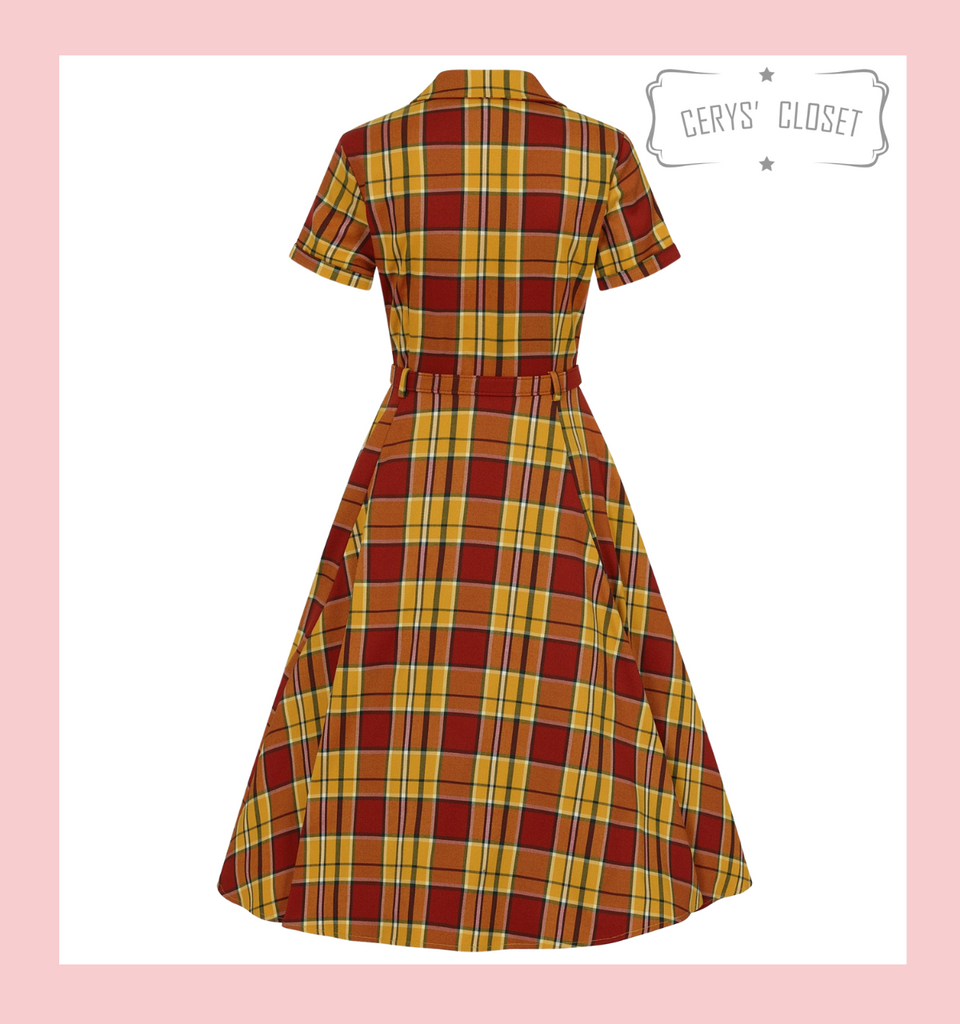 Collectif Caterina Autumn 50s Vintage Inspired Shirt Swing Dress, Orange and Yellow Check