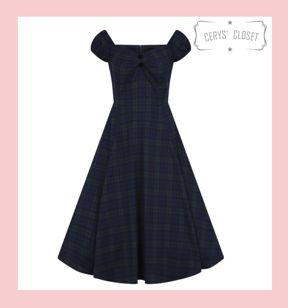 Collectif Dolores Doll Vintage 50s Inspired Swing Dress In Green Tartan Blackwatch Check
