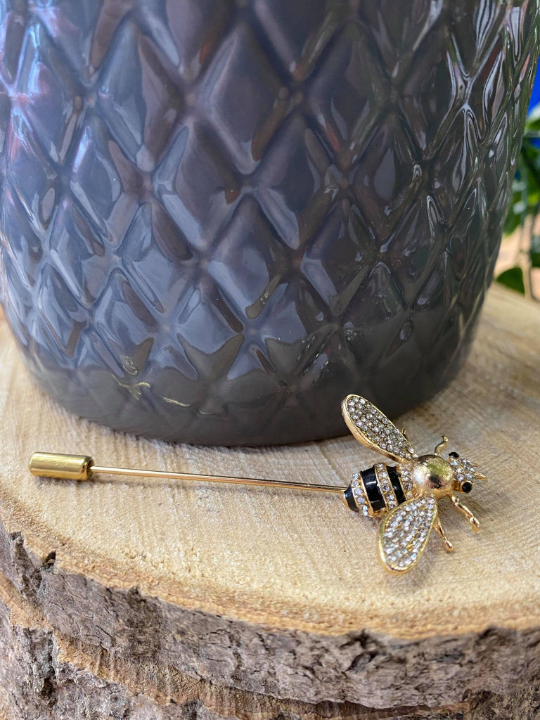 Gold Plated Crystal Encrusted Multiuse Bee Pin