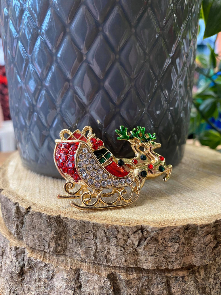 Gold Plated Crystal Encrusted Christmas Sleigh Brooch
