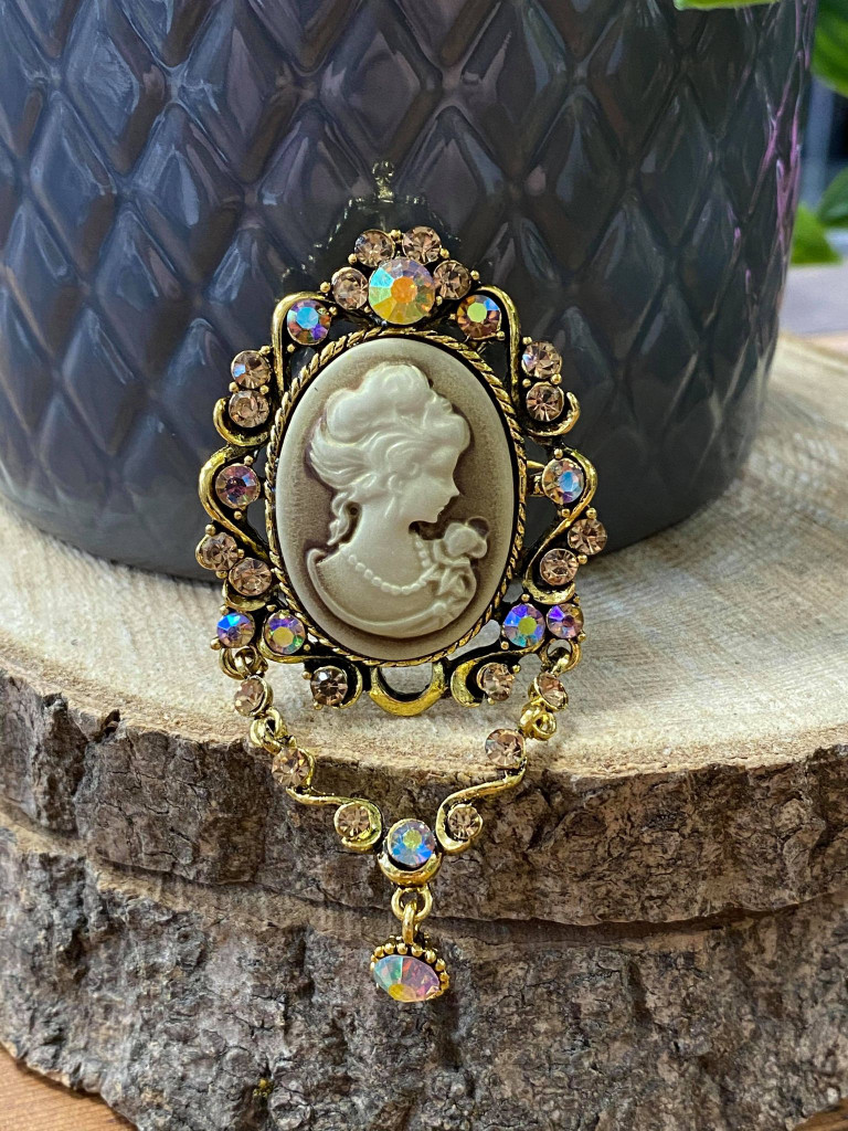 Gold plated Vintage Cameo Style Brooch with Genuine Multi Crystals Drops