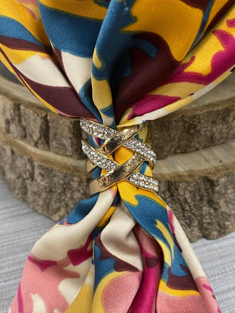 Diamante Criss Cross Scarf Ring - Gold