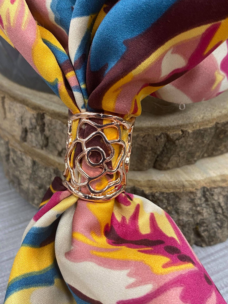 Flower Cut Out Scarf Ring - Rose Gold