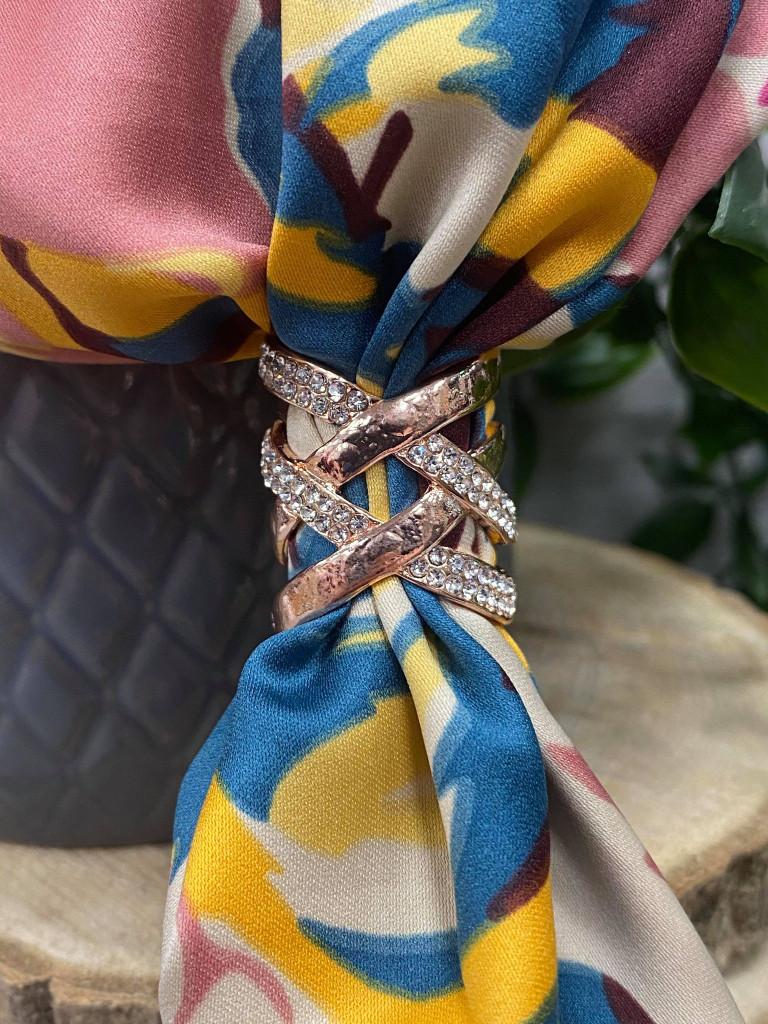 Diamante Criss Cross Scarf Ring - Rose Gold