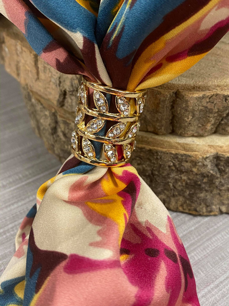 Diamante Leaves Scarf Ring - Gold