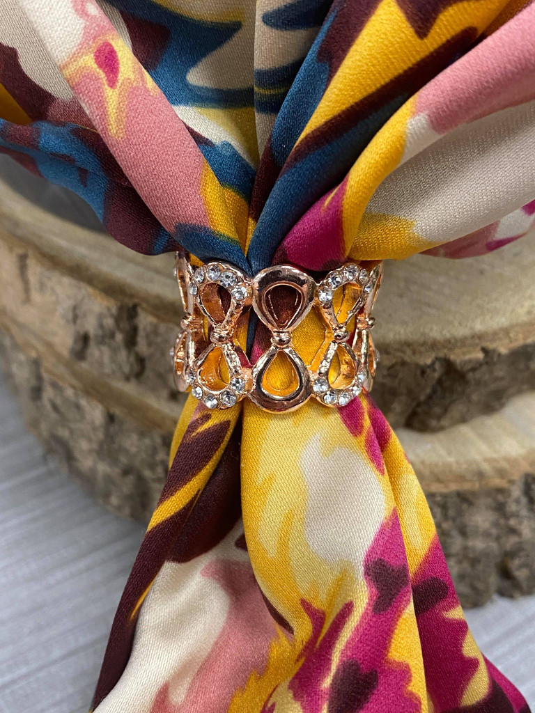 Diamante Encrusted Infinity Loop Scarf Ring - Rose Gold