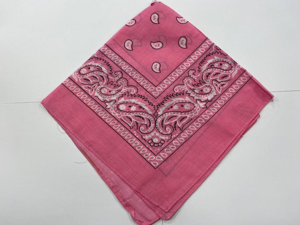 100% Cotton Baby Pink Paisley Bandana Hair Scarf