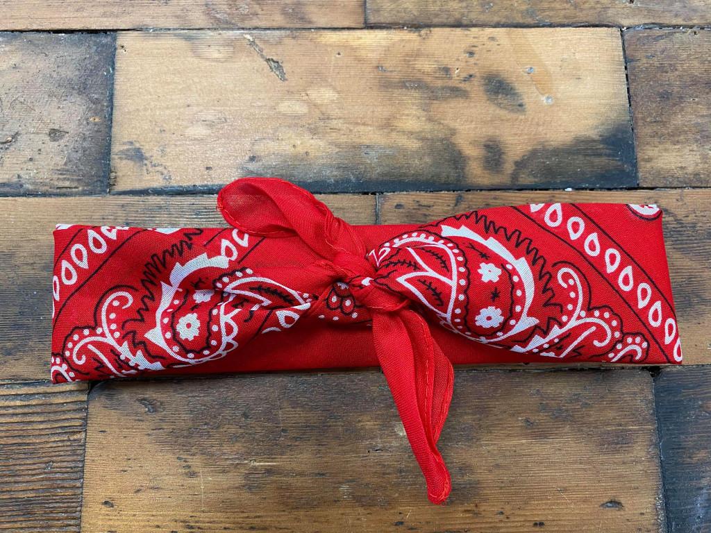 100% Cotton Baby Red Paisley Bandana Hair Scarf