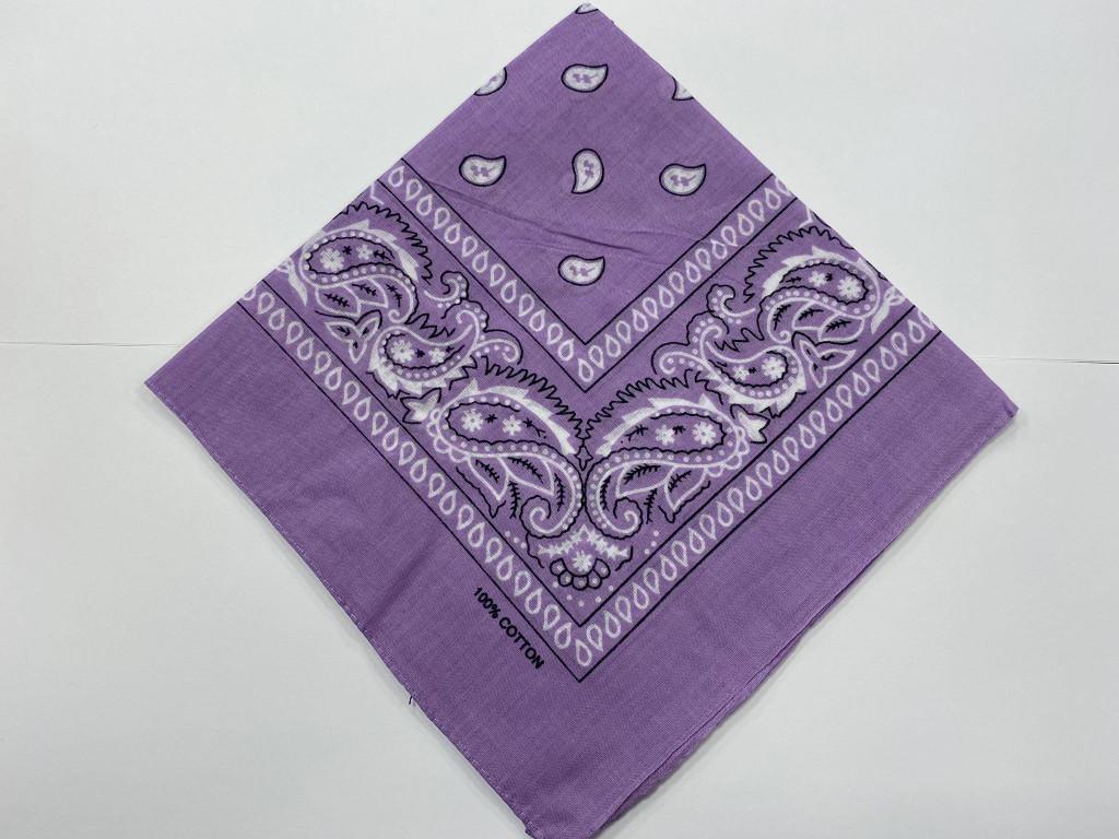 100% Cotton Lilac Paisley Bandana Hair Scarf