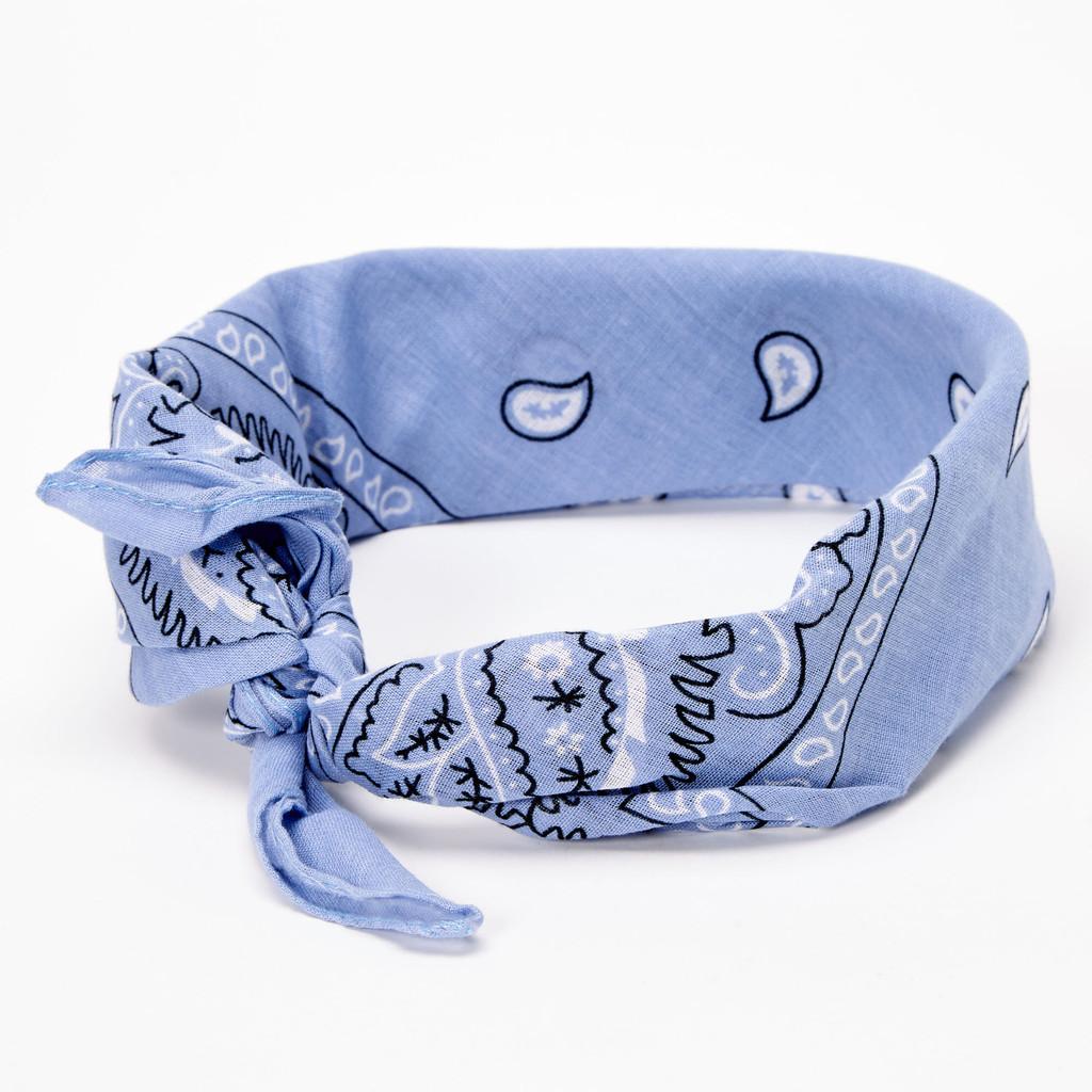 100% Cotton Baby Blue Paisley Bandana Hair Scarf