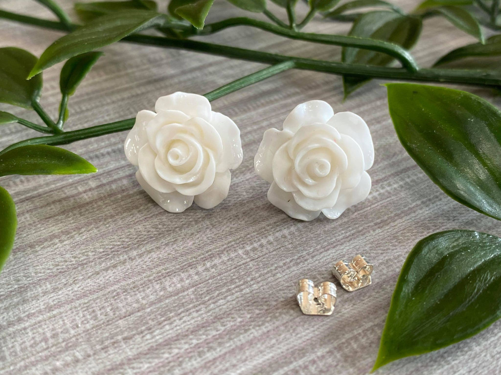Handmade By Sue Resin Rose Earrings with Stainless Steel Post Studs - White