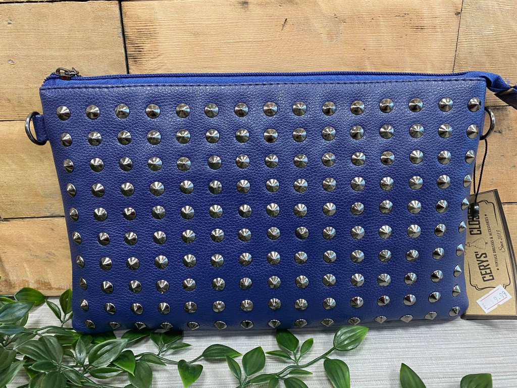 Studded Clutch Bag with detachable Shoulder Strap - Blue