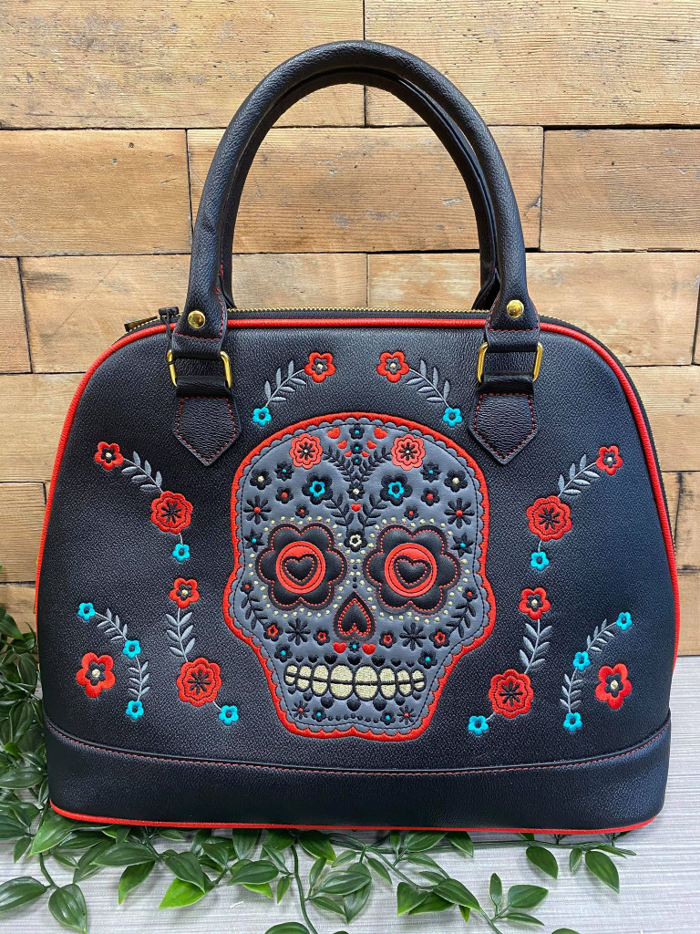 Candy Skull embroidered Double Handle Handbag