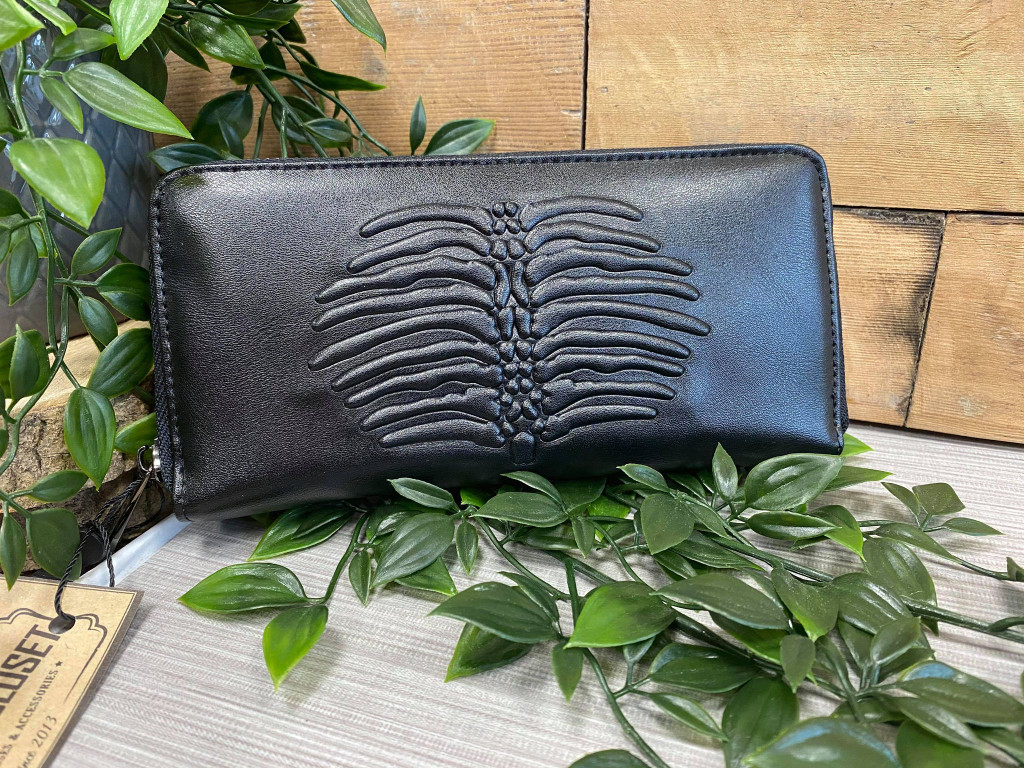 Black Purse with Embossed Rib Cage