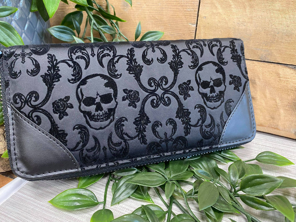 Rib Cage Cameo Purse with Flocked Skull Details