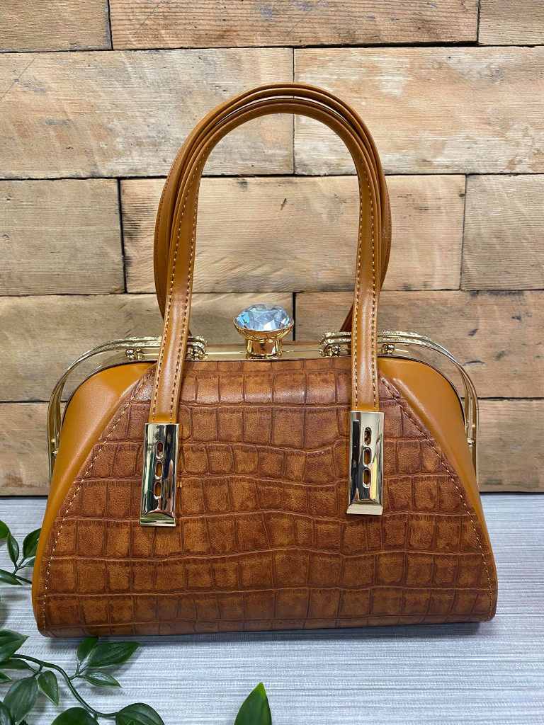 40S AND 50S CLASSIC PINUP ROCKABILLY VINTAGE INSPIRED FAUX CROC HANDBAG - BROWN