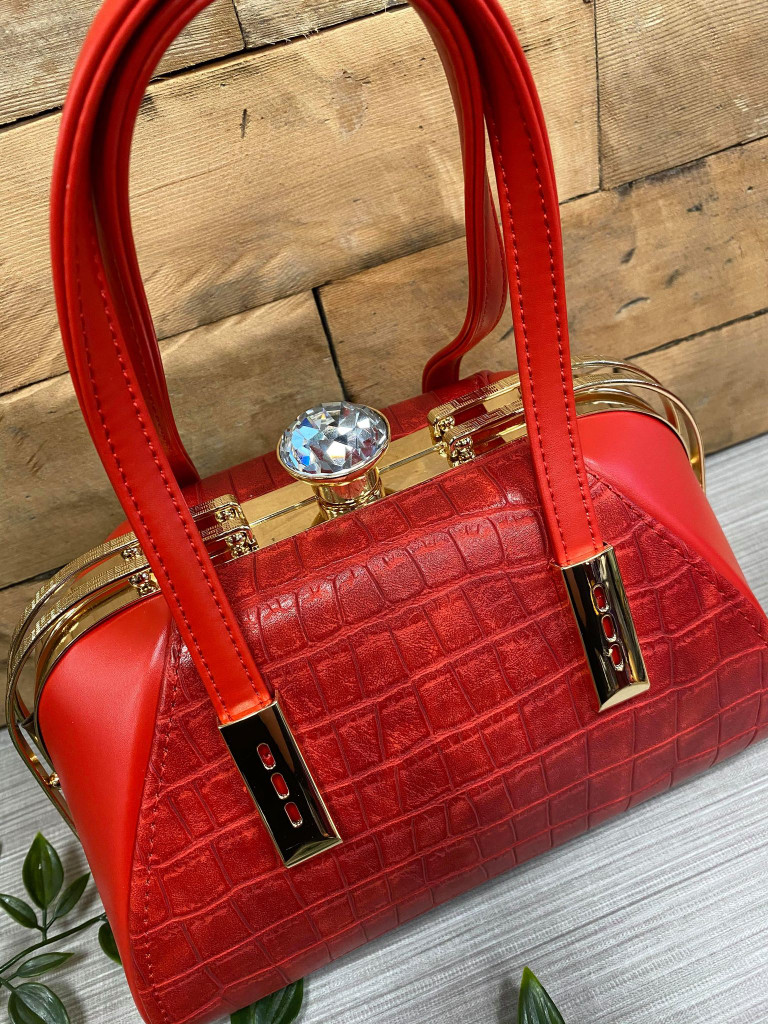 40S AND 50S CLASSIC PINUP ROCKABILLY VINTAGE INSPIRED FAUX CROC HANDBAG - Red