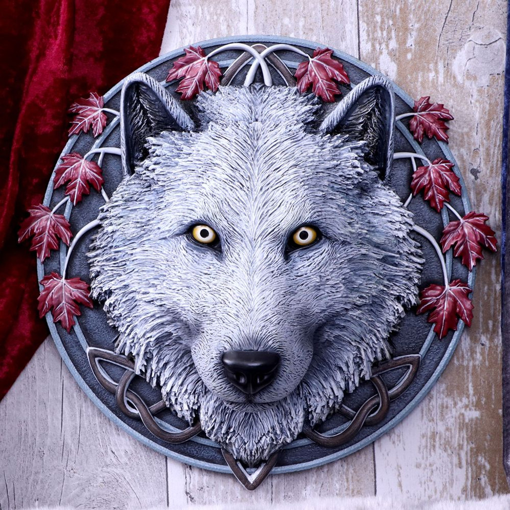 Lisa Parker Guardian of the Fall White Autumn Wolf Wall Plaque
